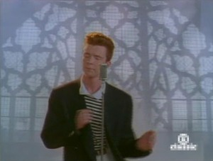 Never gonna give you up,  Never gonna let you down  Never gonna run around and desert you