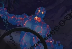 Oh right. The villain becomes a blue crystal monster. That old saw.