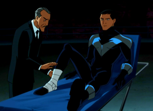 """A long time ago, I was in Burma. My friends and I..."" ""That's great Alfred, but why are you bandaging my boot?"""