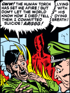 """Mouse, stop showing that panel of the Original Human torch calling Hitler a liar while burning him a…"" ""NEVER!"""