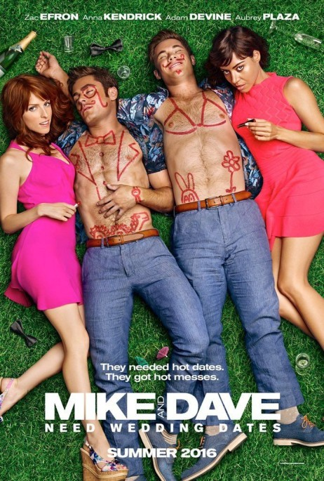MIKE AND DAVE NEED WEDDING DATES Pros : Charming Cast Stephen Root! Cons : Not funny Airplane version dubbed over jokes badly, blurred nudity, I did not laugh once