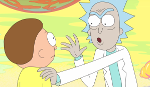 """Don't interrupt Morty, and wait until you get your own box to speak, I don't want to have to share *URP!* caption space, it gets really cramped and ugly looking."""